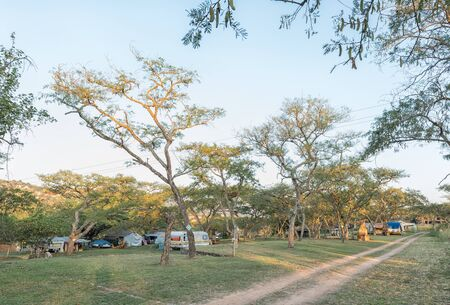 NELSPRUIT, SOUTH AFRICA - MAY 2, Caravans, tents and vehicles at the Lakeview Lodge and Caravan Park at Nelspruit in the Mpumalanga Province