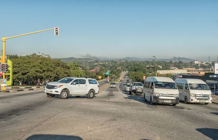 NELSPRUIT, SOUTH AFRICA - MAY 3, 2019: A street scene, with vehicles, in Nelspruit, in the Mpumalanga Province