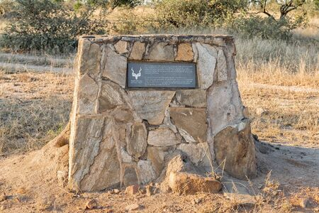 KRUGER NATIONAL PARK, SOUTH AFRICA - MAY 4, 2019: A memorial plaque, commemorating the destruction of artillary in the Boer War, in the Kruger National Park Redakční