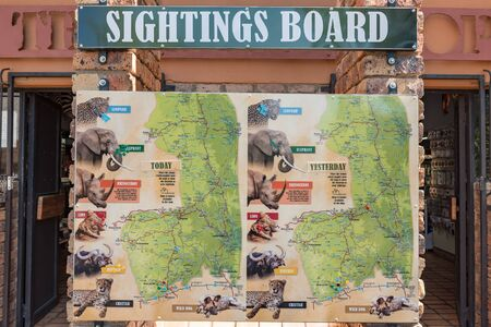 KRUGER NATIONAL PARK, SOUTH AFRICA - MAY 3, 2019: View of a typical sightings board in the Kruger National Park