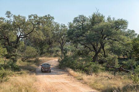KRUGER NATIONAL PARK, SOUTH AFRICA - MAY 4, 2019: Landscape on road S25 in the Kruger National Park. A vehicle is visible