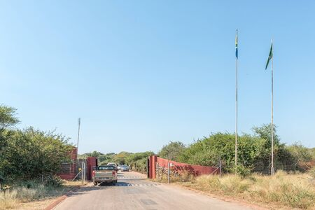 KRUGER NATIONAL PARK, SOUTH AFRICA - MAY 4, 2019: Entrance to the Lower Sabie Rest Camp in the Kruger National Park. Vehicles are visible