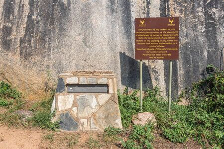 KRUGER NATIONAL PARK, SOUTH AFRICA - MAY 5, 2019: A plaque and information board at the place where the ashes of Stevenson Hamilton were scattered in the Kruger National Park Redakční
