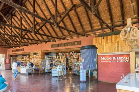 KRUGER NATIONAL PARK, SOUTH AFRICA - MAY 4, 2019: The shop in the Lower Sabie Rest Camp in the Kruger National Park. People are visible Redakční