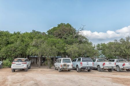 KRUGER NATIONAL PARK, SOUTH AFRICA - MAY 5, 2019: View of the Afsaal Picnic Site in the Kruger National Park. Vehicles are visible Redakční