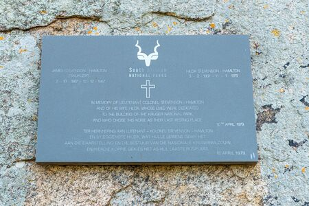 KRUGER NATIONAL PARK, SOUTH AFRICA - MAY 5, 2019: A plaque at the place where the ashes of Stevenson Hamilton and his wife were scattered in the Kruger National Park
