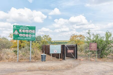 KRUGER NATIONAL PARK, SOUTH AFRICA - MAY 8, 2019: Parking area and entrance of the Mantambeni bird hide on the banks of the Letaba River