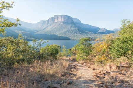 The peninsula hiking trail in the Blyde River Canyon. The Blyderivierspoort Dam is visible