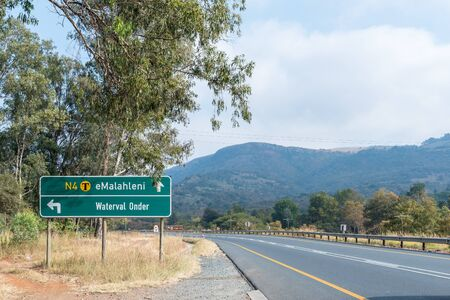 Directional sign on road N4 in the Elands Valley at Waterval Onder in Mpumalanga