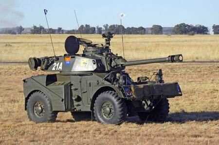 BLOEMFONTEIN, SOUTH AFRICA - AUGUST 12, 2006: An Eland armoured vehicle at the Tempe Airport Editorial