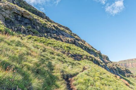 The Sentinel hiking trail to the chain ladders and Tugela Falls, with a small steel ladder on the route visible