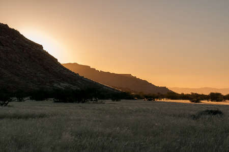 Sunset near Aba Huab in Damaraland in Namibia