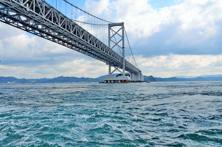 Onaruto Bridge built across the sea whirlpool rapids. The bridge is a transportation route and a point vortex Naruto the most famous and popular of the Province in Tokushima Prefecture, Japan.