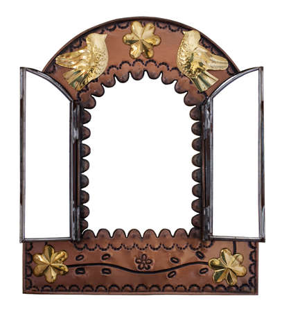 wall mirror: Decorative Wall Mirror with doors Stock Photo