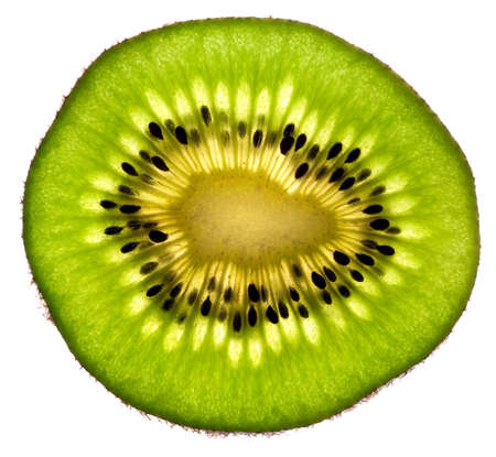 Kiwi Fruit Slice isolated on white background Stock Photo
