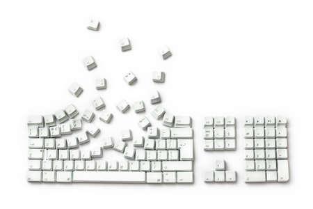 breakout: Keyboard Exploding - Keys Breakout isolated on white
