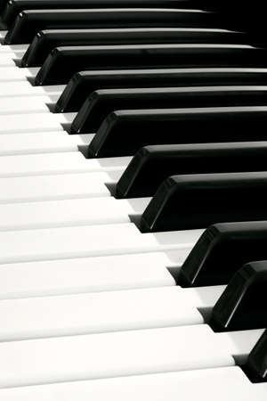 synthesiser: Diagonal close up of Piano Keyboard plenty of white and black space Stock Photo