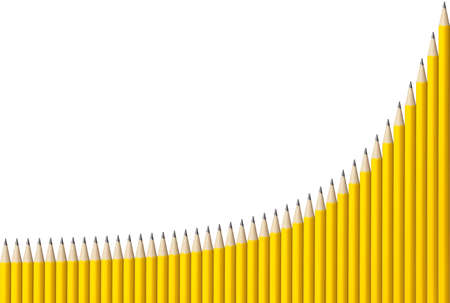Graph made from 40 yellow pencils showing exponential growth with grid