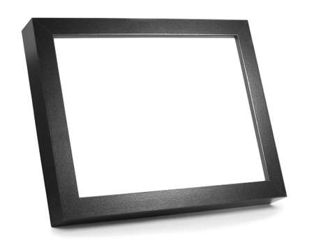 Black Wooden Picture Frame on shiny desk with space for copy