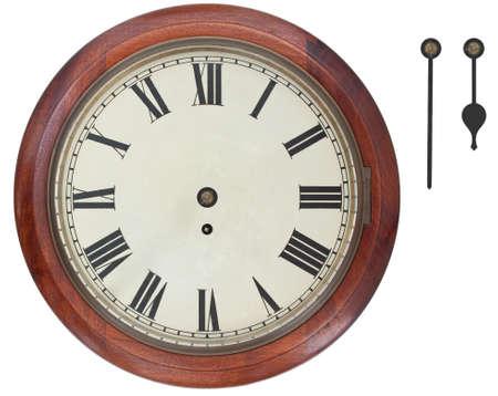 reloj antiguo: Antiguo reloj de pared con n�meros romanos aislados sobre fondo blanco con saturaci�n camino. Hora por separado y los minutos para mostrar en cualquier momento. Foto de archivo