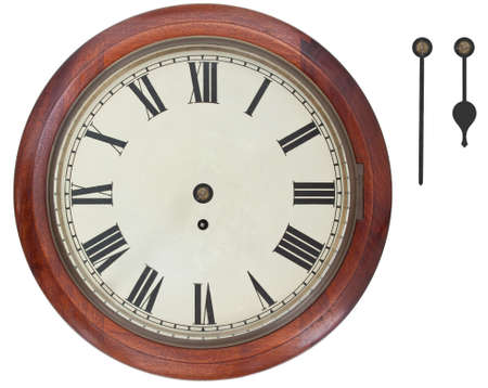 Antique Wall Clock with Roman Numerals isolated on white background with clipping path. Separate Hour and Minute hands to show anytime.