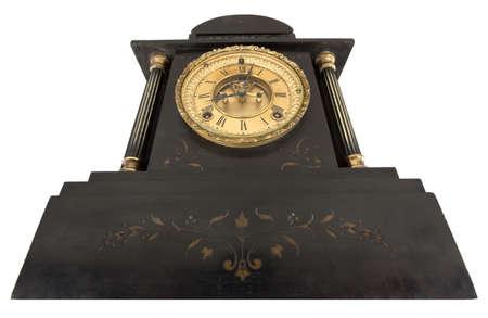 numeros romanos: Reloj antiguo con n�meros romanos desde abajo aisladas sobre fondo blanco Foto de archivo