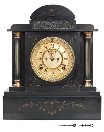 Antique Wall Clock with Roman Numerals isolated on white background with clipping path. Separate Hour and Minute hands to show anytime. photo