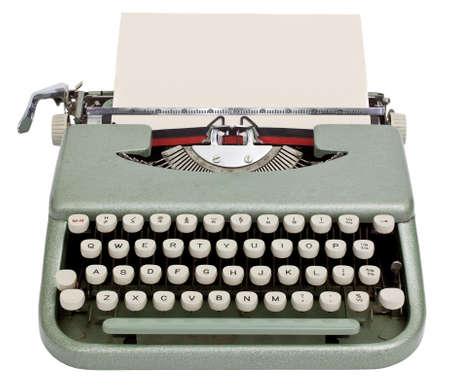 typewriter: M�quina de escribir con una hoja de papel aislado en el fondo blanco