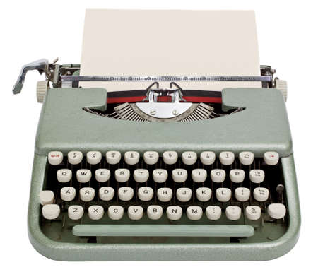 Typewriter with sheet of paper  Isolated on white background  photo