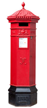 Victorian Postbox isolated on White with clipping path 写真素材