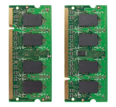 Both sides of a memory chip isolated on white