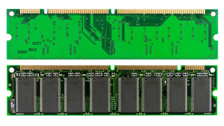 dimm: Both sides of a memory chip isolated on white