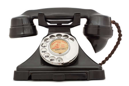 Old bakelite telephone. Stock Photo