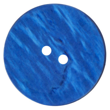 Old Blue Button isolated on white background with clipping path