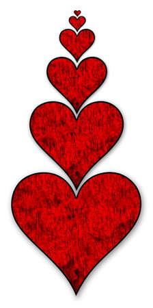 Six coeurs sur un fond blanc avec un pathLove �cr�tage devient de plus en plus profond amour Banque d'images