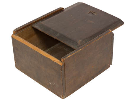 Old wooden box with a sliding lid - isolated on white Stock Photo - 17001388