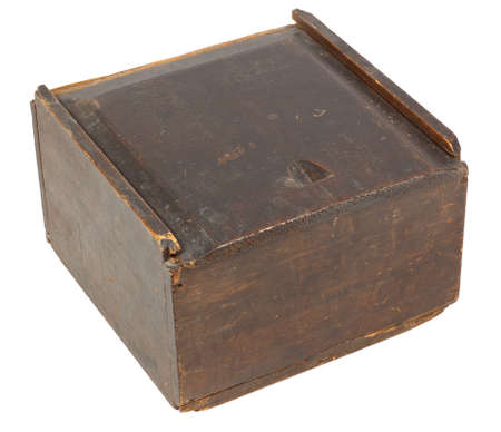 Old wooden box with a sliding lid - isolated on white Stock Photo