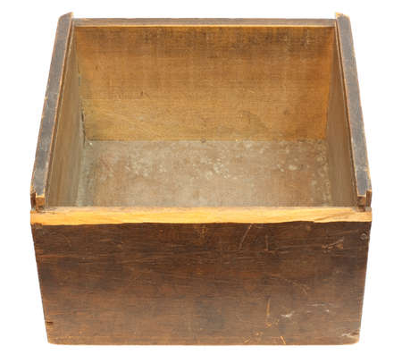 Old empty wooden box - isolated on white with clipping path Stock Photo