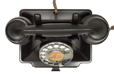 bakelite: Old bakelite telephone. GPO 200 Series. 232 model. Shot from above. Isolated on white with clipping path