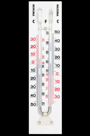 Maxima minima thermometer isolated on black with clipping path Stock Photo