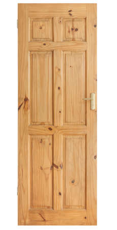 Wooden panel door with brass handle isolated on with with clipping path Stock Photo - 18282560
