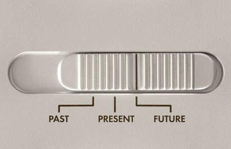 Commutateur � trois curseur de position avec des options pour pass�, pr�sent et futur