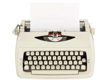 typewriter key: Typewriter with sheet of paper isolated on white background with clipping path