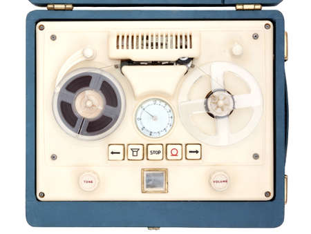 Vintage Open Reel Portable Tape Recorder in a case shot from above on white