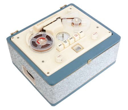 Vintage Open Reel Portable Tape Recorder in a case on white background with clipping path photo