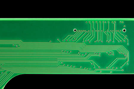 Circuit Board from interface isolated on black with clipping path