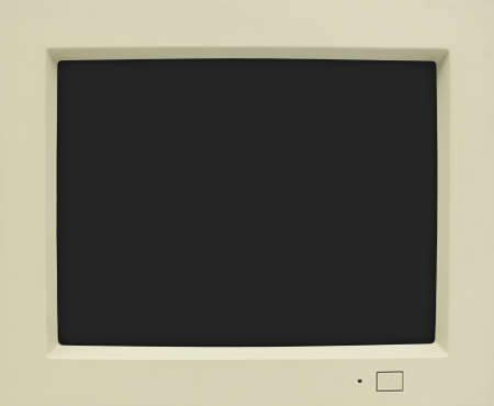 CRT monitor frame with black screen for copy Stock Photo