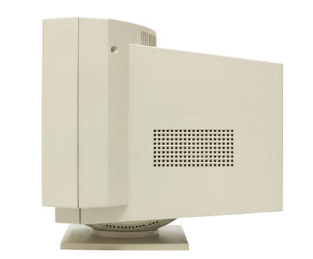 old pc: Side view of CRT monitor isolated on white with clipping path