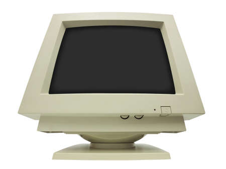 Giant CRT monitor isolated on white with clipping path - plain dark screen for copy photo