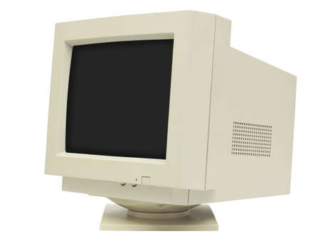 90s: Side view of CRT monitor isolated on white with clipping path - plain dark screen for copy
